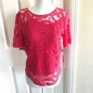 NWT Nanette Lepore Monticello Rose Lace bow top